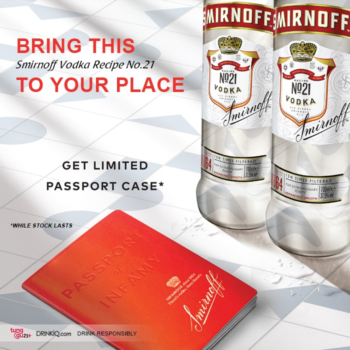 vines, jakarta, indonesia, Smirnoff 75cl x 2 + Free passport holder